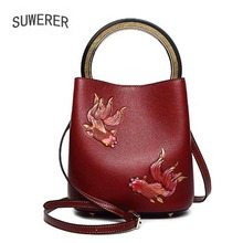 SUWERER 2019 New Women Genuine Leather bag Handmade embossing luxury leather shoulder bag designer women famous brand Bucket bag new genuine leather backpack chinese style women embroidery phoenix shoulder bag famous designer rivet classic national daypack