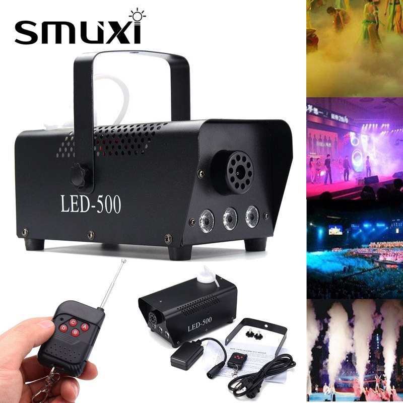 Smuxi Professional 500W RGB LED Wireless Smoke Fog Machine DJ Disco Party KTV Fogger Stage Lighting Effect 110V-230V mini rgb led party disco club dj light crystal magic ball effect stage lighting