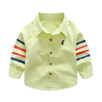 1-5 years Baby shirts 20018 spring new casual 4 bars turn down collar long sleeved children boys clothes autumn outwear 2