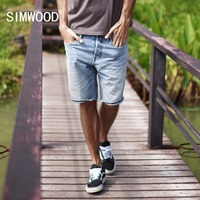 SIMWOOD 2018 Summer New Selvage Denim Shorts Fashion Ripped Knee Length Jeans RedLine High Quality Ripped