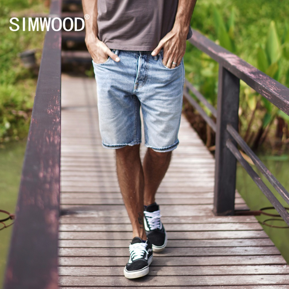 SIMWOOD 2019 Summer New Selvage Denim Shorts Fashion Ripped Knee Length Jeans RedLine High Quality Ripped Shorts 180085