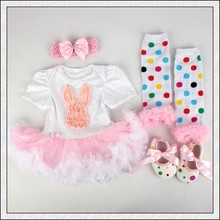 4PCs per Set Infant Lace Romper White Flower Rabbit Baby Girls Tutu Dress Headband Shoes Leggings for 0-12months Free Shipping