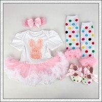 4PCs Per Set Infant Lace Romper Cute Hot Pink Cartoon Baby Girls Tutu Dress Headband Shoes