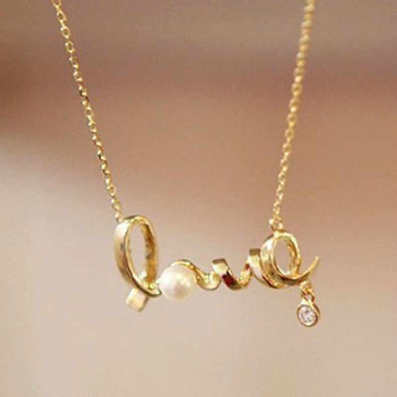 2017 New Korean Fashion Temperament All-match Short Necklace Love Imitation  Necklace Chain Letter Personality Clavicle necklace