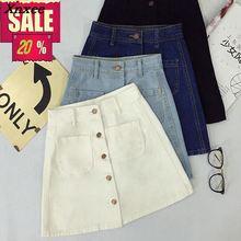 Womens ladies Button Through Denim Skirt A-line Pencil mini Skirts High Waist jeans harajuku 2 pockets casual Skirt Xnxee