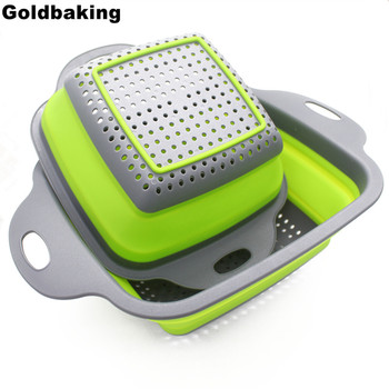Goldbaking 2 Pieces Collapsible Colanders Set Silicone Kitchen Fruit Vegetable Square Baskets Folding Strainers