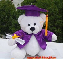 lovely bear dolls cute doctor white bear plush toy with purple Doctorial hat and cloth doll birthday gift about 28cm