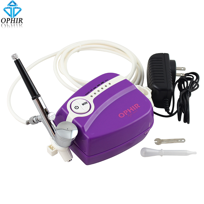 OPHIR Free Shipping Portable 0.3mm Mini Airbrush Compressor Kit 5 Adjustable Speed for Art Painting Makeup Purple #AC094P+AC004 mini compresor de pintura