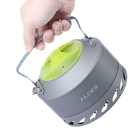 0.9L Aluminum Alloy Camping Picnic Coffee Water Kettle Windproof Plastic Handle Outdoor Stove