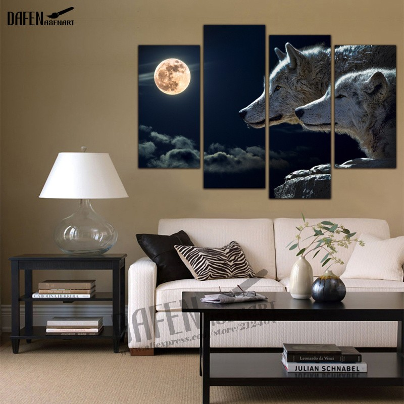 4 Panel Wall Art Picture Wolf Tiger Painting Animal Hot Sale Print On Canvas Home Decoration Framed Style Ready To Hang