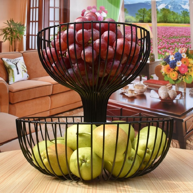 Two Story Fruit Basket Storage Fruit Pots Kitchen Accessories Bandeja High  Capacity Plate Storage Living
