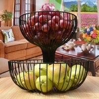 Two Story Fruit Basket Storage Fruit pots Kitchen accessories bandeja High capacity Plate Storage Living room Metal Baskets