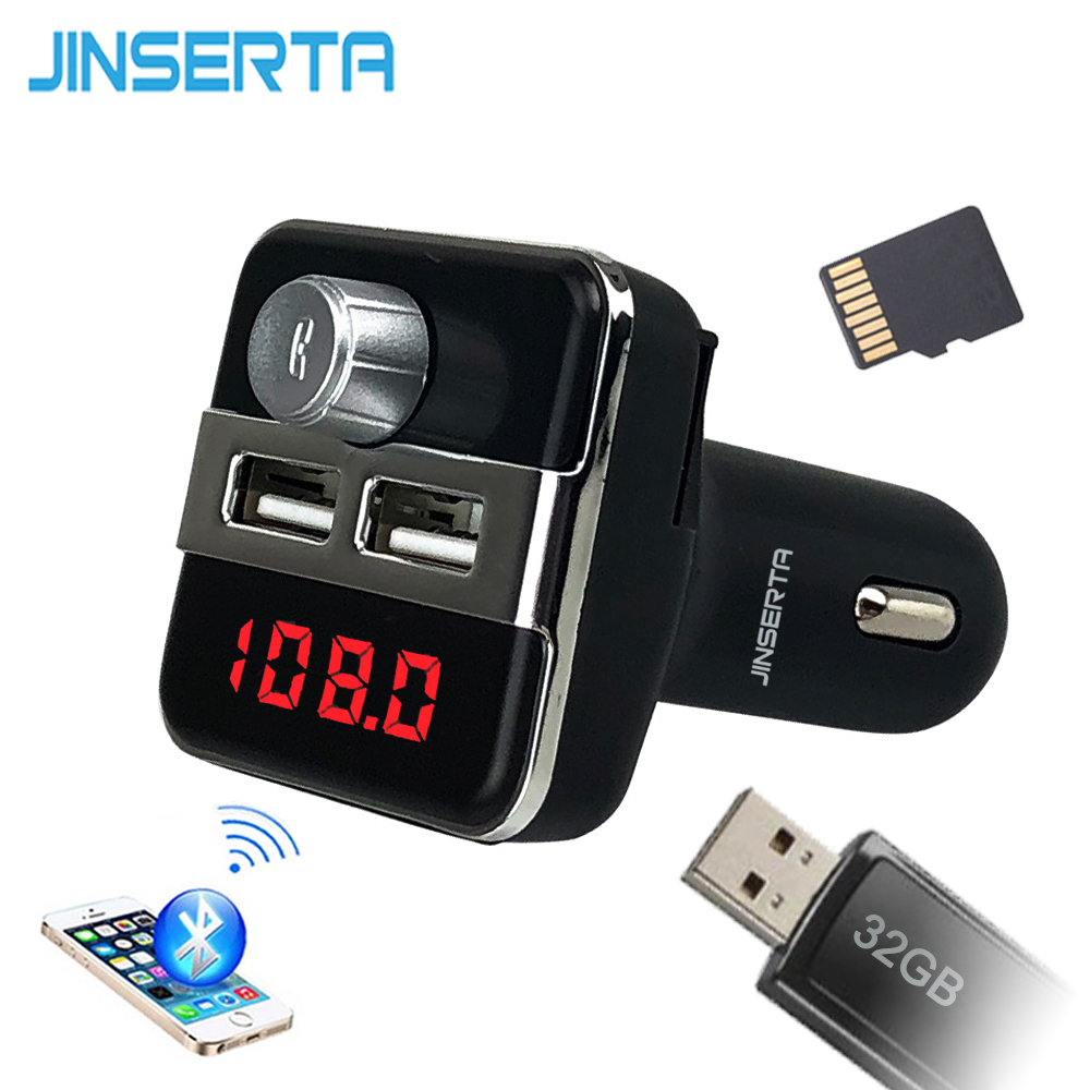 JINSERTA Car MP3 Music Player 2 USB Car Charger Wireless FM Transmitter Handsfree Call Bluetooth Car Kit Support TF Card