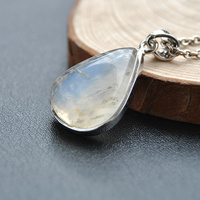 925 Sterling Silver with natural Moonstone Pendant blue moon stone water drop pendant jewelry to send his girlfriend