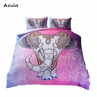 Boho Pink Elephant Printed Queen Comforter Sets Bedding King Twin Size Luxury 3d Bed Linen Duvet Cover Sheets Set Home Textiles