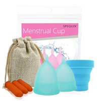 Silicone Menstrual Cup Set com Esterilizador Médica Copo Menstrual cup para Mulheres Femininas higiene 100% de Xícara de silicone FDA SGS