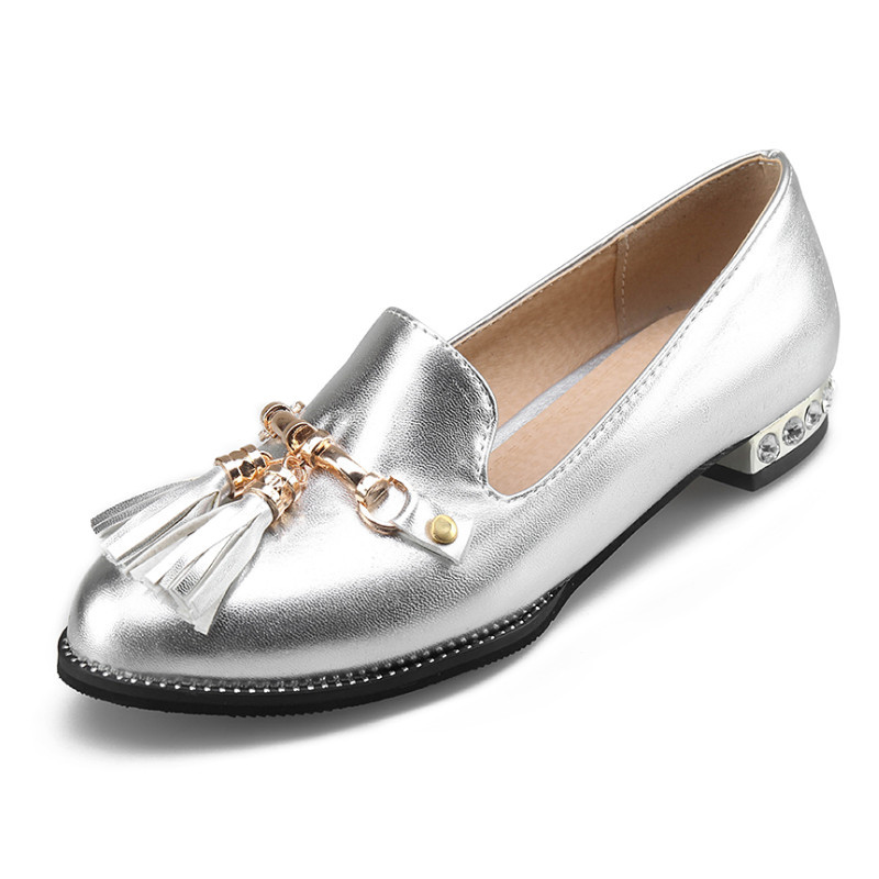 Caqui Mujeres Zapatos 2018 Plata Mocasines Pink Tamaño Mujer Flecos On silver Planos Grande khaki 34 43 Slip Otoño gxw866