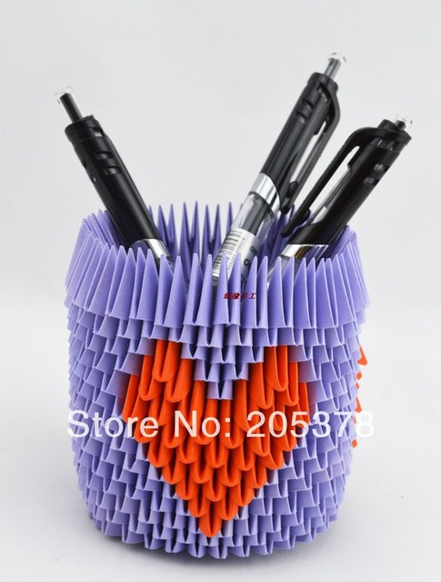 Freeshiping Love Pen Holder Kit Made With 3d Origami Paper Diy Good
