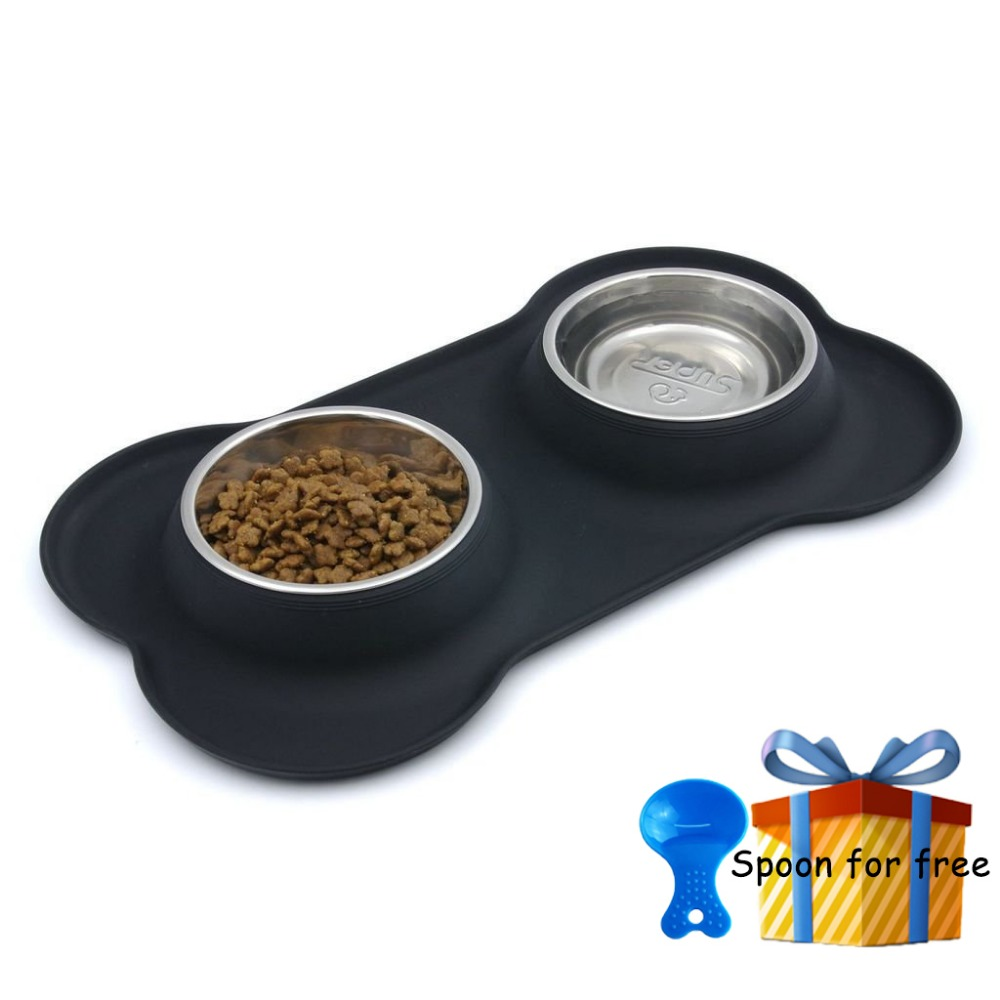 SuperDesign New Steel Dog Bowl With No Spill Non-Skid Silicone Mat Feeder Tool pet supplie Stainless steel cat double water bowl
