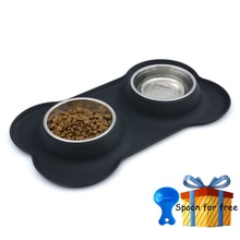 Фотография Super bowl dog pet products Stainless steel dog bowl The cat silicone double bowl dog basin water bowls bone Send small gifts