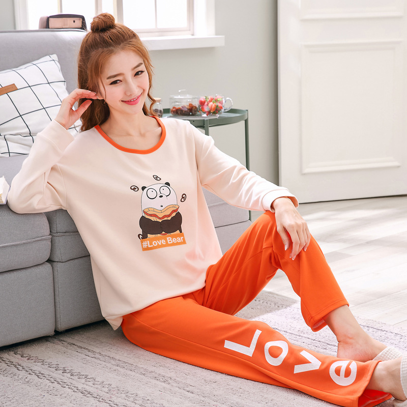 2019 Women Pajamas Sets Autumn Winter New Women Pyjamas Cotton Clothing Long Tops Set Female Pyjamas Sets NightSuit Mother Sleep 113