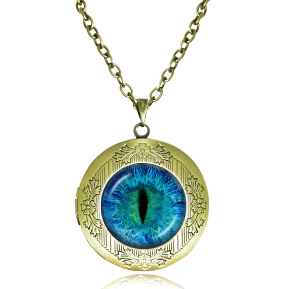 Blue Dragon Eye Necklace Glass Locket Pendant Cat Eye Jewelry Evil Eye Statement Chain Necklace Picture Frame Handmade Jewellery