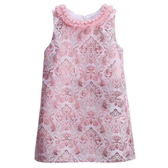 Pérola Do Laço Do Pescoço Do Bebê Meninas Vestido Rosa Bordado Do Vintage Festa de Casamento Vestidos para Meninas Roupas Princesa Crianças Vestido 3-8 T