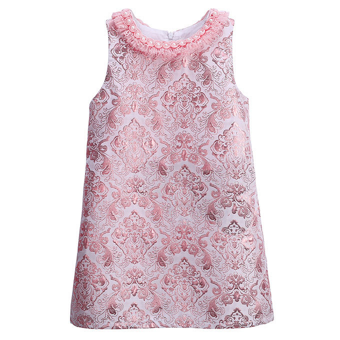 Pearl lace neck baby girls dress pink embroidery vintage