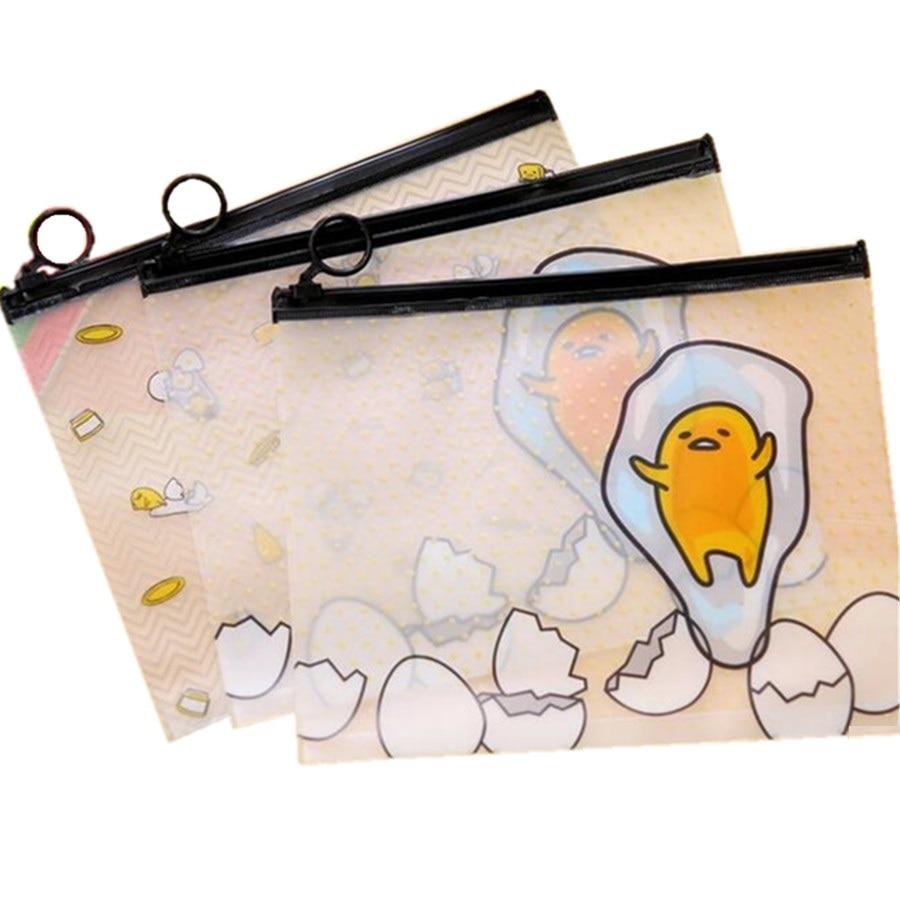 20pcs/lot 222*180mm Kawaii Mr.Lazy Egg PVC Transparent Pencilbag Gudetama Clean Up Bags DIY Stationery Bag Office School Supply