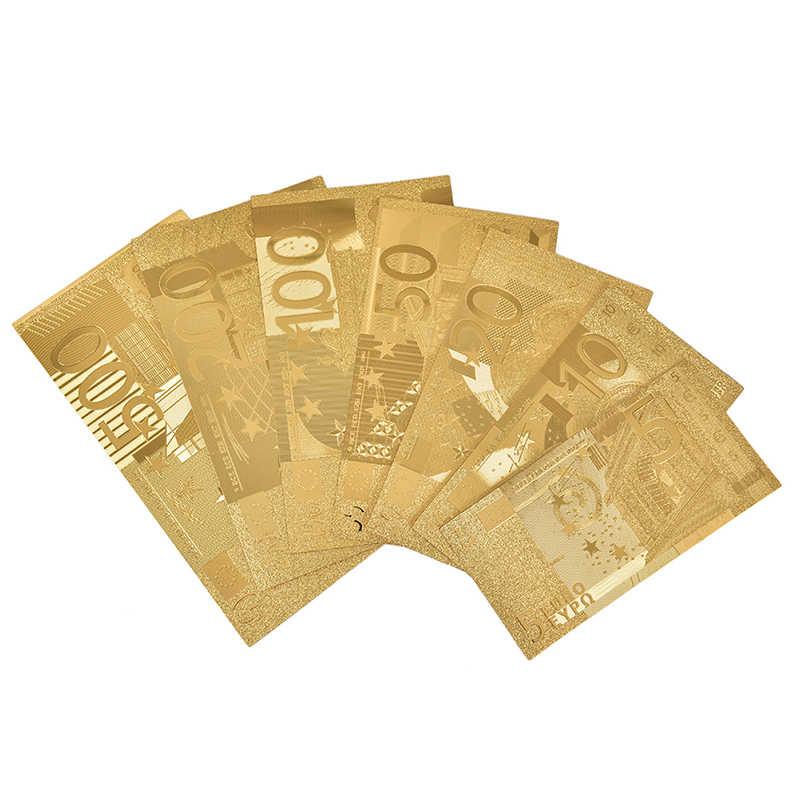 7 blätter/Sets Wasserdichte Kunststoff Gold Folie Art Bar Kreativität Sammlung Souvenir Gefälschte Geld Euro Dollar