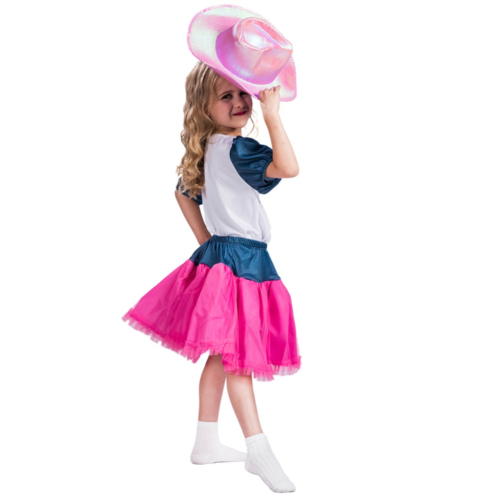 2017 New Arrival Cutie Cowgirl Plaid Pink Cowgirl Costume Kid Dance