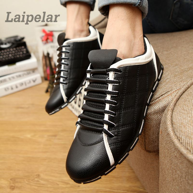 Summer Men Flats Leather Loafers Male Black Driving Casual Shoes Mens Comfortable Lace U ...
