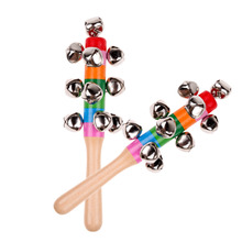 Wooden Baby Toys Rattles Pram Crib Handle Wooden Bell Stick Shaker Rattle Cute Rainbow Newborn Baby