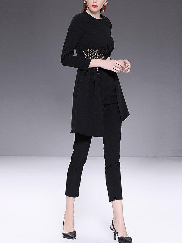 Sexy Top Long Casual Costumes Zipper Pantalon À Z122 Up Solide Perles Asymétrique O Hem Black Couleur Noir Manches Femmes Cou Longues Mode 6zwqUfa