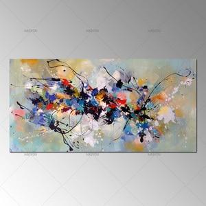 Image 2 - Лучшая новинка, картина, абстрактные Масляные картины на холсте, 100% ручная работа, цветной холст, современное искусство для домашнего декора стен