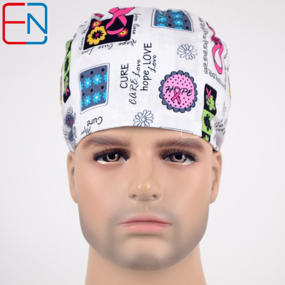 Hennar Unisex Surgical Hats In White With Hearts And Ribbons In 2 Sizes For Different Head