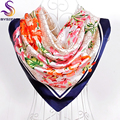 Silk Muffler Autumn Winter New Brand Female Large Square Scarves Printed Hot Sale Flowers Letters Navy Blue Beige Scarves Capes