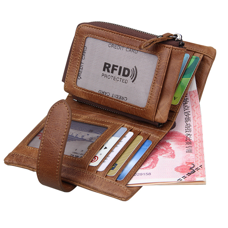 Wallets Genuine Leather for Men Zipper Hasp Coins Purses Cards Slots RFID Protected Money Pockets SIM Card Slots Vintage Walets