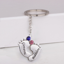 2017 New Real White Gold Plated Baby Feet Keychain Custom Any Names & Birthstones Birthday Gift for Family YP3056