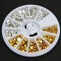 MOONBIFFY 6 Tamanhos de Ouro Prata Rodada Glitter Moda Nail Ferramentas Da Arte Do Prego Adesivos Dicas DIY Decoração Stamping