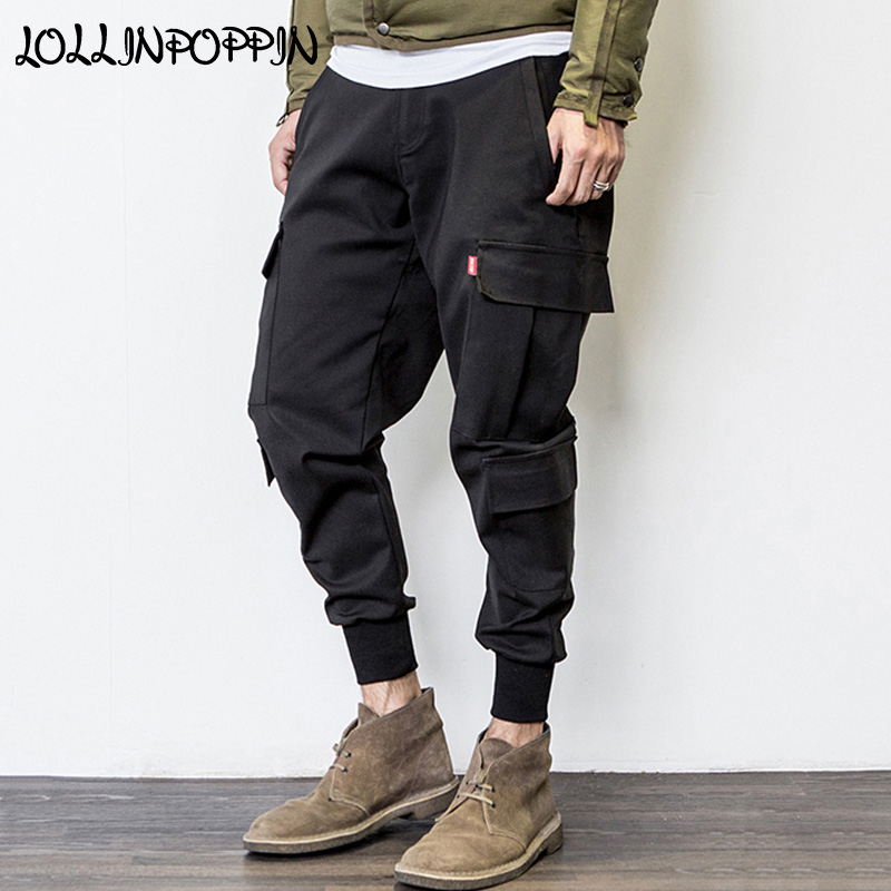 Mens Cargo Jogger Pants Multi Pockets Black Joggers Elastic Waist Drop Crotch Harem Pants Streetwear Hip Hop Pants For Men -in Cargo Pants from Men's Clothing