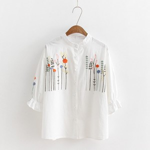 Модные женские топы и блузки лето осень 2018 льняной полосатый Стенд воротник вышивка рубашка с длинными рукавами camicette