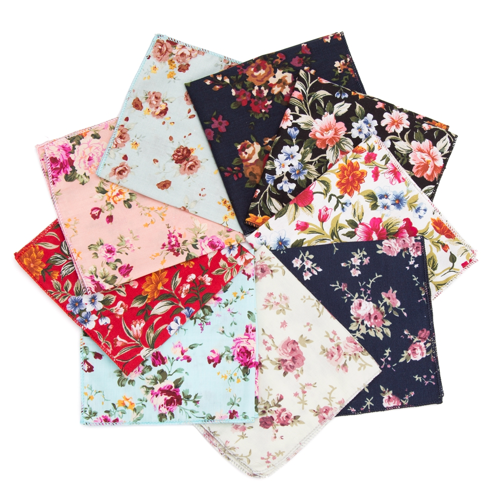 Hankerchief Cotton Floral Cravat Practical Hankies Men Pocket Square Formal Wedding 22*22cm Dress Zakdoek