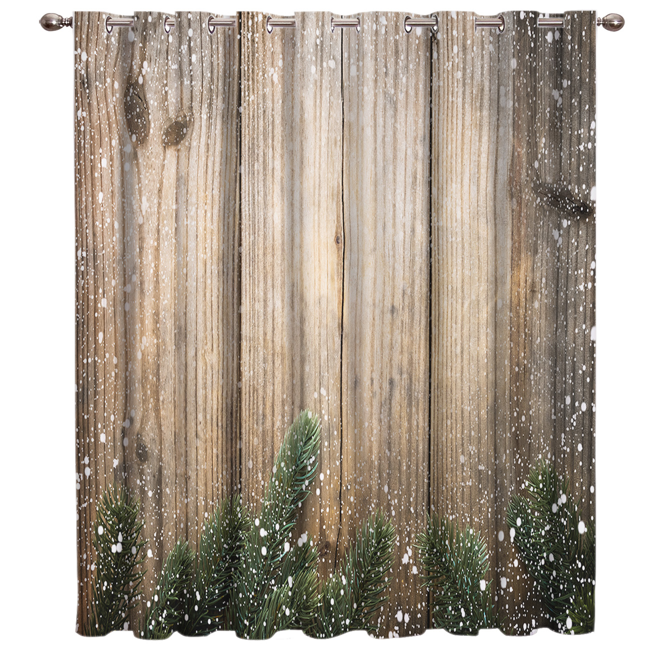 Retro Wooden Door Merry Christams Room Curtains Large Window Blackout Kitchen Outdoor Fabric Drapes Decor Kids Window Treatment