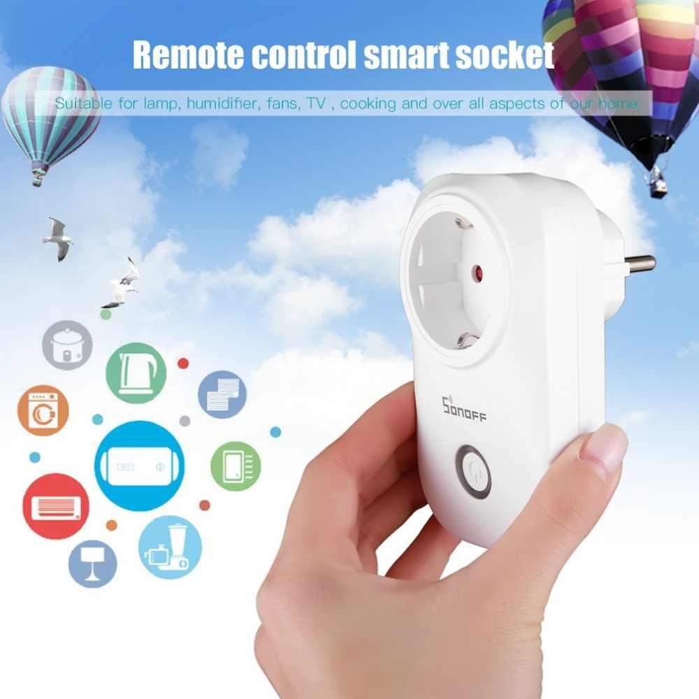 Sonoff S20 ue/US/UK bezprzewodowy WiFi wyłącznik czasowy gniazdo 10A 2200 w zdalnego zasilania wtyczka z systemem Android IOS telefon pilot zdalnego sterowania inteligentny dom