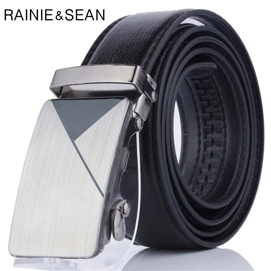 RAINIE SEAN Men Leather Belt Black Automatic Buckle Leather Belt For Men Trouser Mens Dress Belts