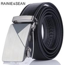 цена RAINIE SEAN Men Leather Belt Black Automatic Buckle Leather Belt For Men Trouser Mens Dress Belts онлайн в 2017 году