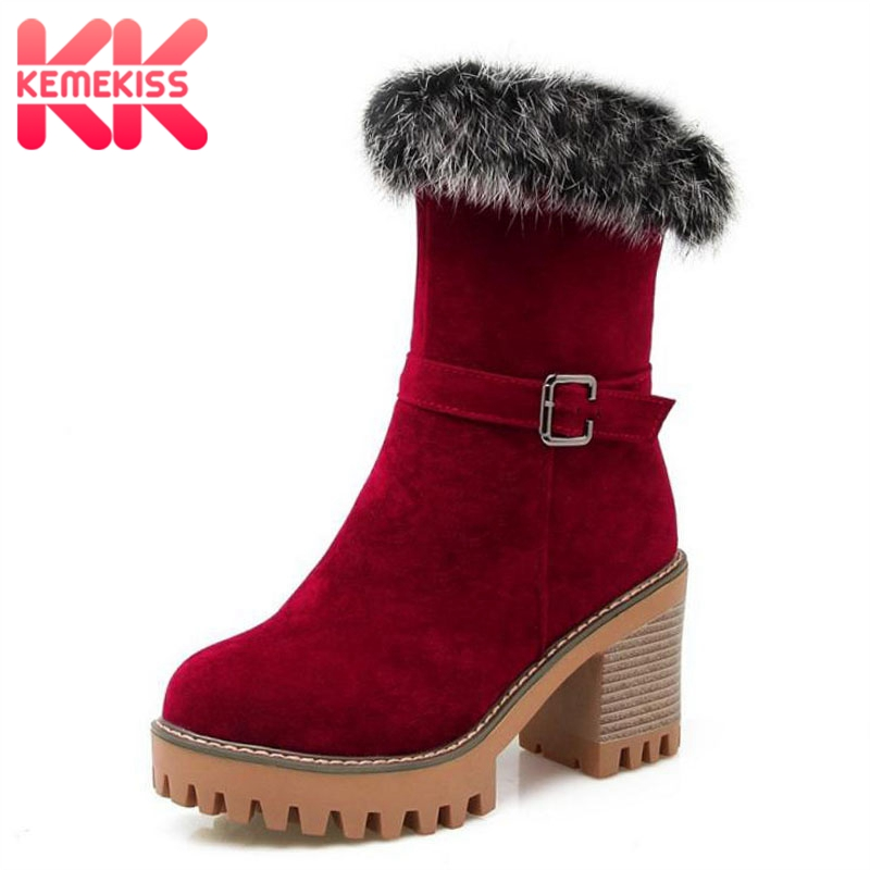 KemeKiss Size 32-43 Women Mid Calf High Heel Boots Thick Fur Half Short Boots Women Winter Shoes Snow Botas Fur Woman Footwear