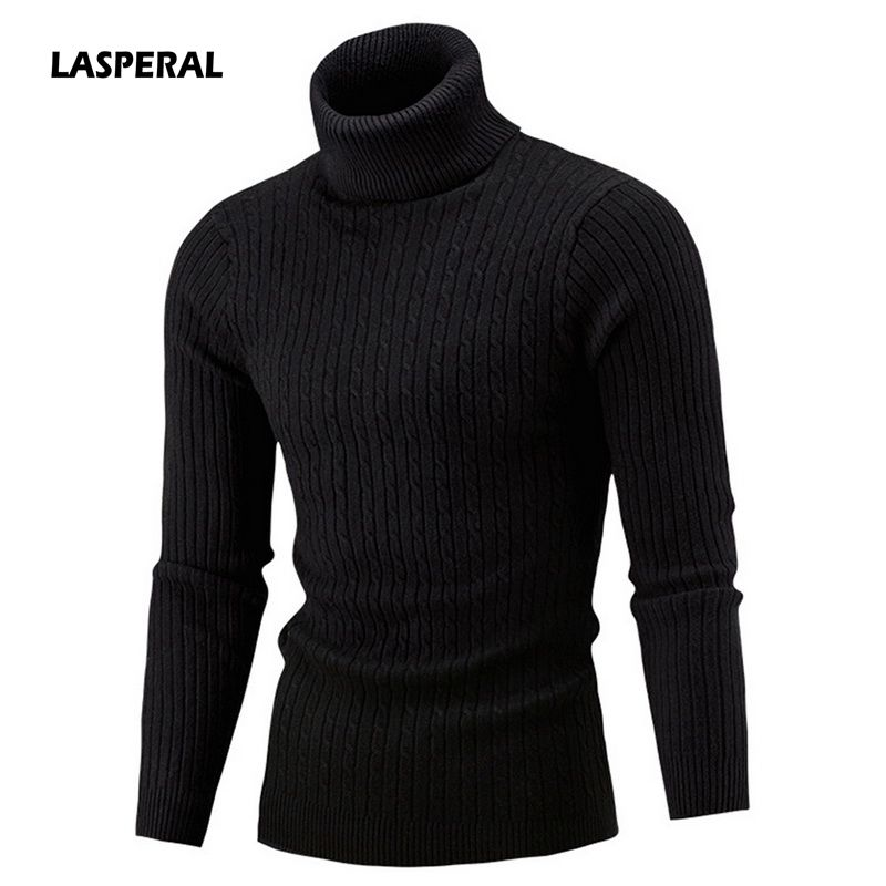 Lasperal Men's Turtleneck Solid Color Casual Sweater 2019 New Autumn Winter Men's Sweater Men's Slim Fit Brand Knitted Pullovers