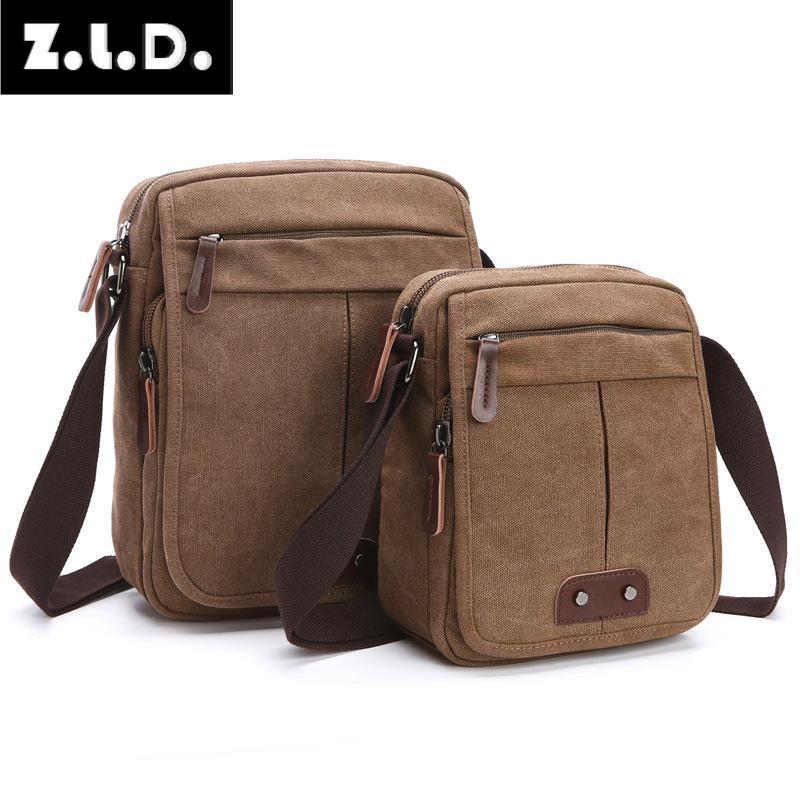 Z.L.D. new men and women retro fashion canvas shoulder Messenger bag business casual small square bag fashion brand design bag